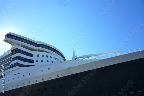 Photo  Classic cruise ship in port