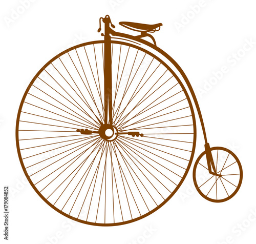 An old bicycle with a large wheel, Old school tattoo style.  © Marina Andrienko