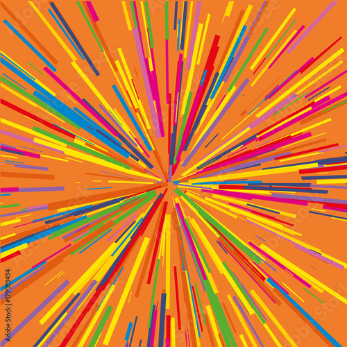 Poster Psychedelic Radiating from the center of thin beams, lines. Vector illustration. Colorful Dynamic style. Abstract explosion, speed motion