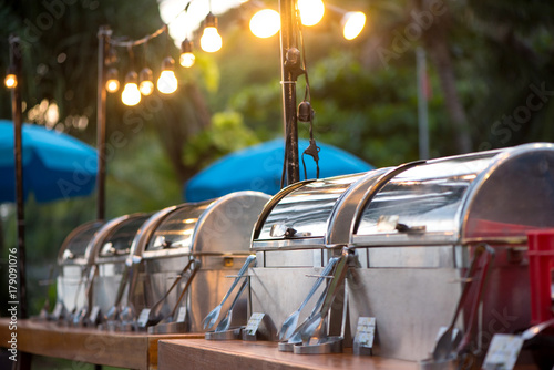 Fototapeta catering buffet food party outdoors in garden. obraz