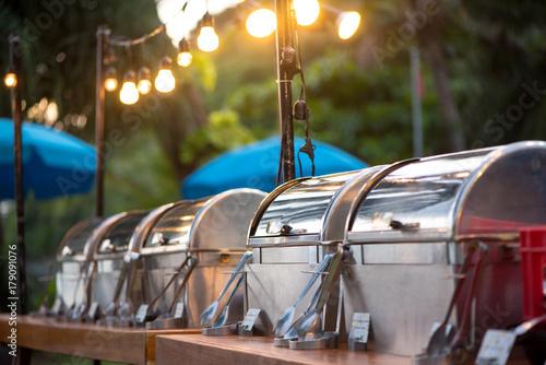 Fototapeta catering buffet food party outdoors in garden. obraz
