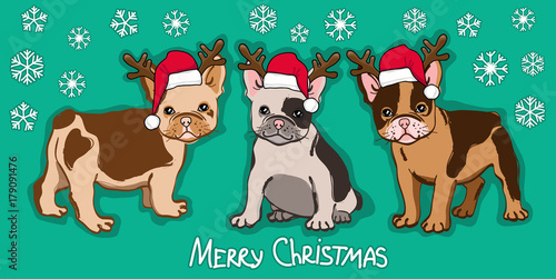Deurstickers Babykamer Merry Christmas card. Abstract card with cute french bulldog in santa hat and wishing text on green background. Vector illustration