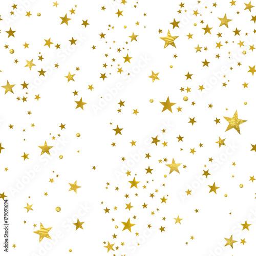 Stoffe zum Nähen Nahtlose Muster von dekorativen goldenen Sternen