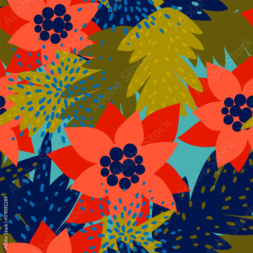 Cotton fabric Christmas seamless pattern with Poinsettia.Trendy vintage style.