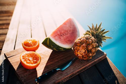 Healthy fruit platter at swimming pool