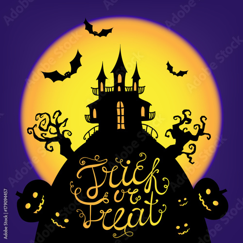 Halloween Trick Or Treat Silhouette.Vector Halloween Card Poster Illustration Trick Or Treat