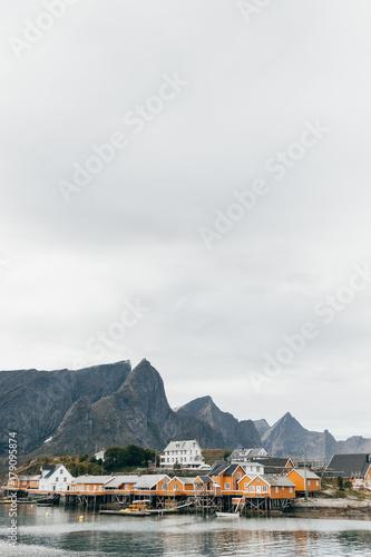 Mountain village near lake