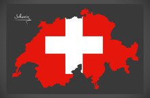 Switzerland Map With Swiss Nat...