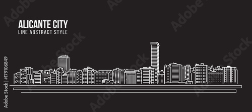 Photo Cityscape Building Line art Vector Illustration design - Alicante city