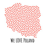 Poland Map with red hearts - symbol of love. abstract background - 179109830