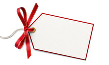 Blank Gift Tag And Red Ribbon ...
