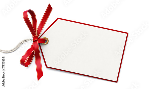 Blank gift tag and red ribbon bow with gold border #179115634