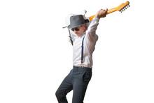 Mann Spielt Gitarre über Kopf...