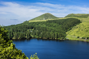 View of Lake Guery. Lake Guery is a mountain lake of volcanic origin located in Monts Dore, in the heart of the Massif Central. It is the highest of the Auvergne lakes. Auvergne-Rhone-Alpes. France.
