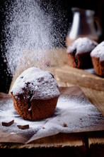 Sweet Chocolate Muffins Dusted...