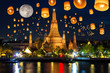 Leinwanddruck Bild - Floating lamp in yee peng festival under loy krathong day at wat arun, Full moon at night in bangkok city, Thailand