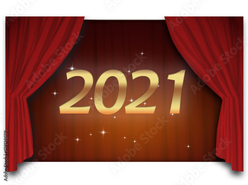 Poster  2021 - golden text in front of the deep red opened courtain and a lot of celebra