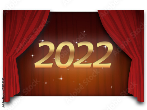 Poster  2022 - golden text in front of the deep red opened courtain and a lot of shining