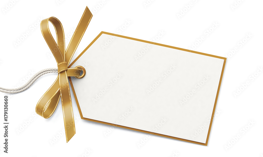Fototapeta Blank gift tag and golden ribbon bow with gold border
