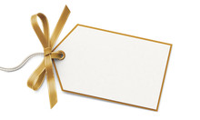 Blank Gift Tag And Golden Ribb...