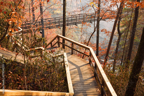 Photo Wooden Walkway and Suspension Bridge over the Tallulah River