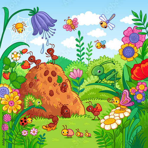 Photo Vector illustration with an anthill and insects