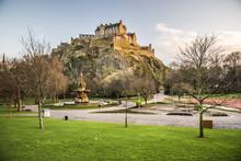 Edinburgh Castle, Seen From Princes Street Gardens At Sunset, Edinburgh, Scotland