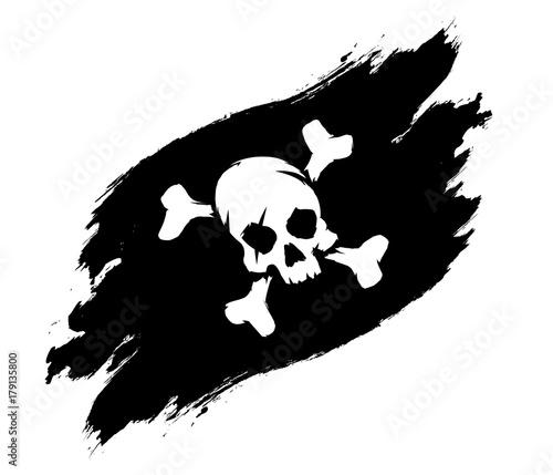 Photo Pirate flag grunge illustration