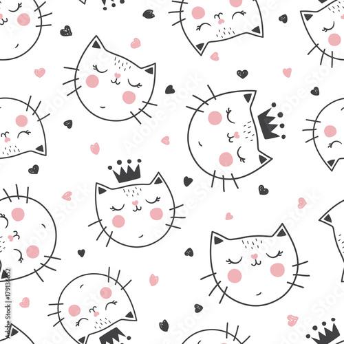 fototapeta na szkło queen cat pattern