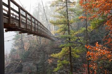 Suspension Bridge Crossing Over Tallulah Gorge in Georgia