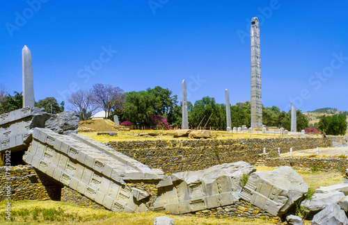 Stele in the northern field at Axum in Ethiopia Wallpaper Mural
