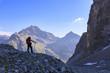 Hiker on the trail to Lej Lagrev, St. Moritz, Upper Engadine, Canton of Graubunden