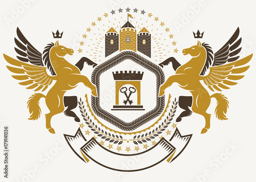Fototapety, obrazy: Heraldic Coat of Arms decorative emblem isolated vector illustration created using graceful Pegasus and ancient tower.