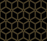 Wektorowy Nowożytny Bezszwowy Geometryczny wzór z sześcianem. Abstrakcyjna geometria. Na tle, Fashion Print. Projekt Hipster. Czarny, złoty kolor - 179142627