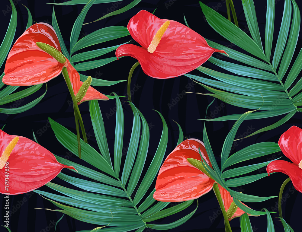 Vector Tropical Flowers And Palm Leaves Seamless Pattern