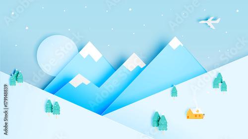 Foto op Canvas Pool Winter landscape with paper art style and pastel color scheme