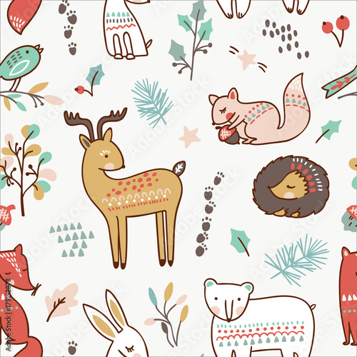 Stoffe zum Nähen Nahtlose Tiermuster Winter