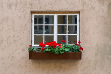 Old White Wood Window With Flo...