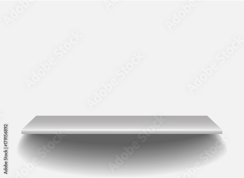 Empty white shop shelf, 3d store wall display  vector illustration