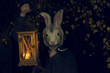 Girl in a bunny mask with the lantern at night. Halloween party