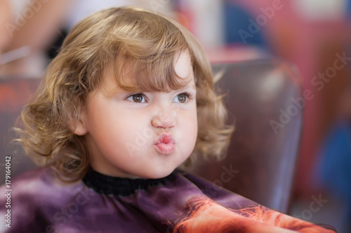 Cute Toddler Girl Unhappy With Her Haircut Buy This Stock Photo