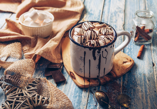 Foto op Canvas Kerstmis Hot chocolate with marshmallow.