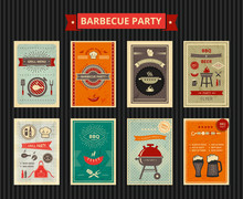 Set Of Flyers For  Barbecue Party . Vector