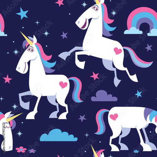 Stoffe zum Nähen Einhorn Seamless Pattern / Seamless pattern mit Cartoon Einhorn, Sternen, Wolken und Regenbogen.