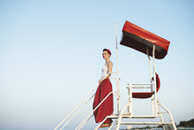 Pin Up Standing On Lifeguard C...