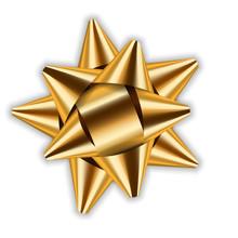 Gold Bow Ribbon Decor Element Package. Shiny Golden Satin Decoration Gift Present, Holiday Design, Isolated White Background. Symbol Christmas, New Year Celebration, Birthday Vector Illustration
