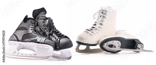 Photo Ice hockey skates and figure skates isolated on white