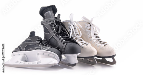 Foto op Aluminium Fietsen Ice hockey skates and figure skates isolated on white
