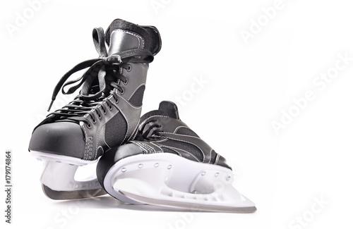 Pair of ice hockey skates isolated on white Canvas Print