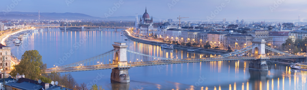 morning twilight panorama in Budapest with light